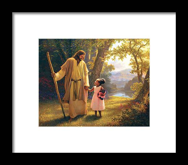Jesus Framed Print featuring the painting Hand In Hand by Greg Olsen