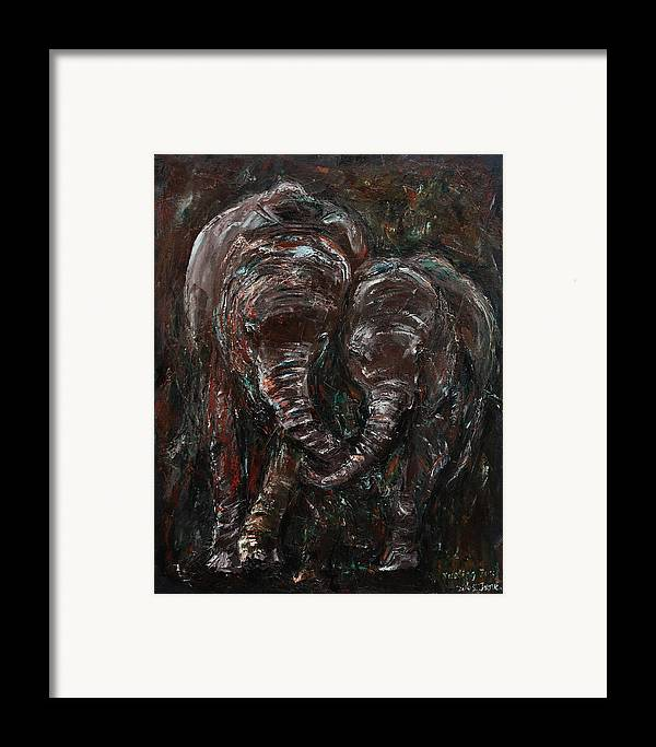 Elephants Framed Print featuring the painting Hand In Hand by Xueling Zou