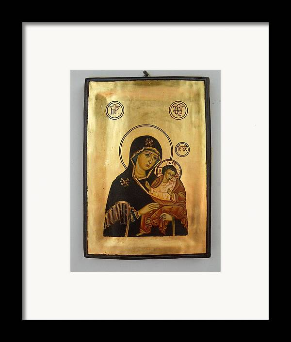 Religious Icons Framed Print featuring the painting Handpainted Orthodox Holy Icon Madonna With Child Jesus by Denise Clemenco