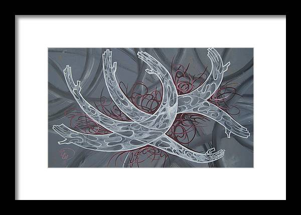 Hands Framed Print featuring the painting Hands by Ali ArtDesign
