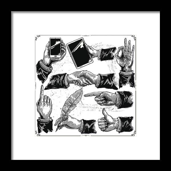 Corporate Business Framed Print featuring the drawing Hands set by Man_Half-tube