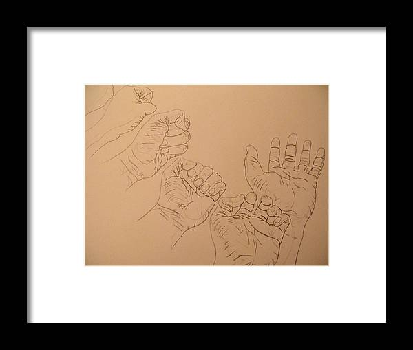 Hands Framed Print featuring the drawing Hands by Troy Howard