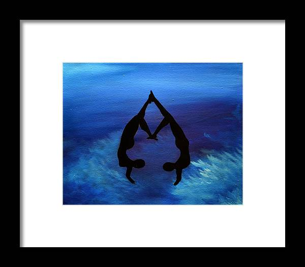 Silhouette Framed Print featuring the painting Handstands by Shari SharStar Afflick