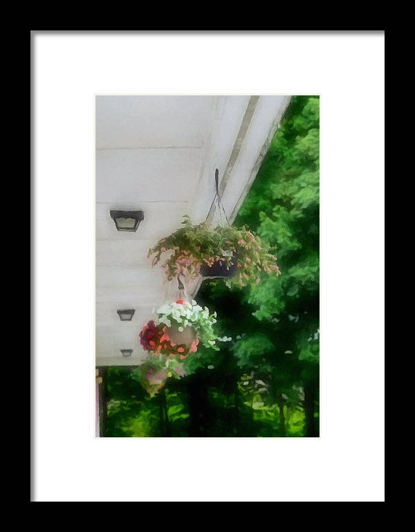 Agricultural Framed Print featuring the painting Hanging Flower Baskets On A Porch by Jeelan Clark