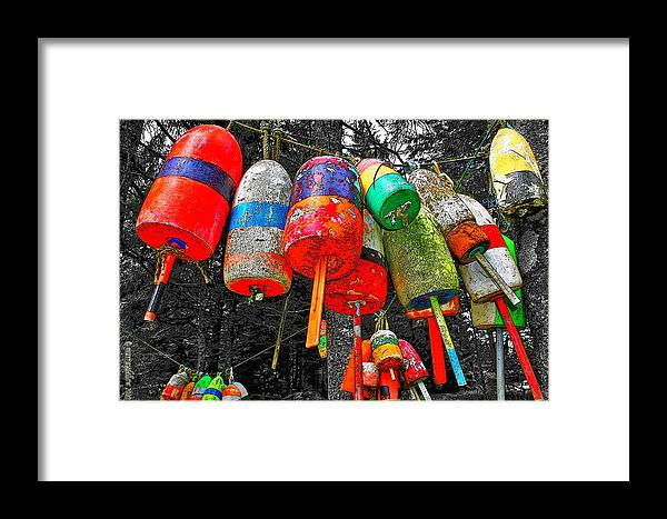 Lobster Buoys Framed Print featuring the digital art Hanging Lobster Buoys by Murray Dellow