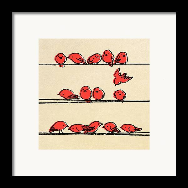 Birds Framed Print featuring the drawing Hanging Out by Eric Fan