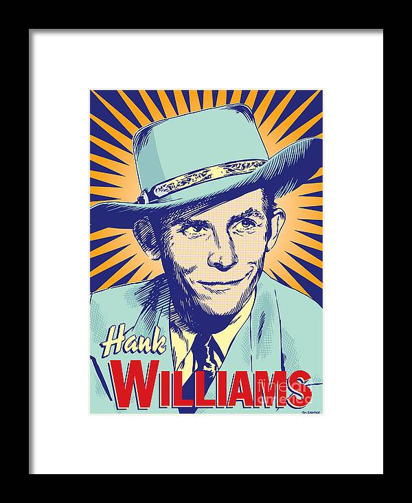Country And Western Framed Print featuring the digital art Hank Williams Pop Art by Jim Zahniser