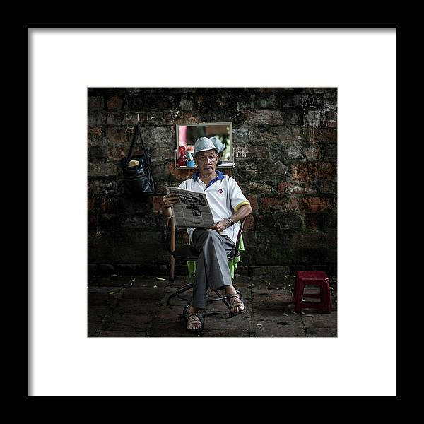Smoke Framed Print featuring the photograph Hanois Street Style Barbers by Chris Mcgrath
