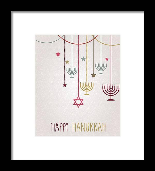 Hanging Framed Print featuring the drawing Hanukkah Card. Hanging Colorful Menorah by BojanMirkovic