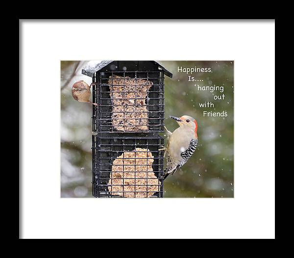Words Framed Print featuring the photograph Happiness Is Hanging Out With Friends by Kerri Farley