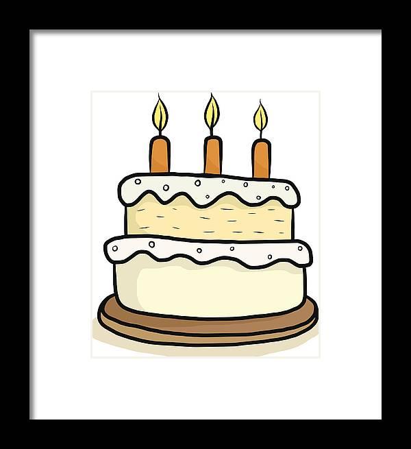 Happy Birthday Cake Cartoon Framed Print By Owattaphotos