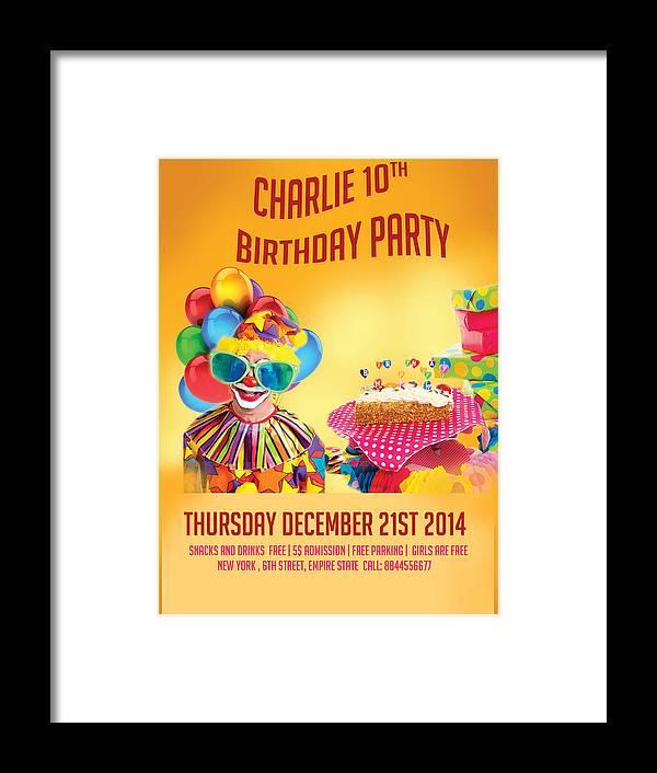 Happy Birthday Flyer Framed Print By Seema Singh