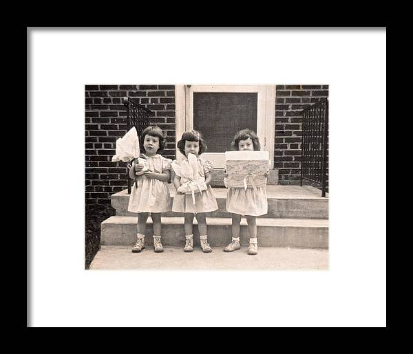 Triplet Children Framed Print featuring the photograph Happy Birthday Retro Photograph by Kristina Deane