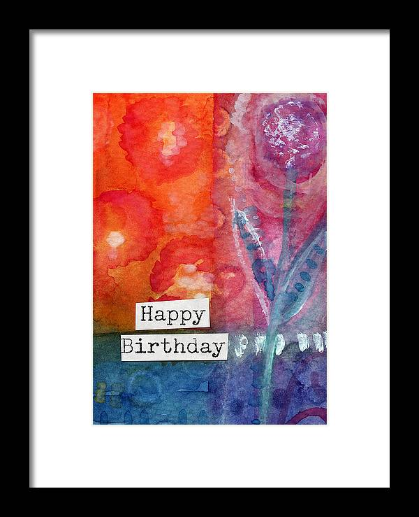 Happy Birthday Card Framed Print featuring the painting Happy Birthday- Watercolor Floral Card by Linda Woods