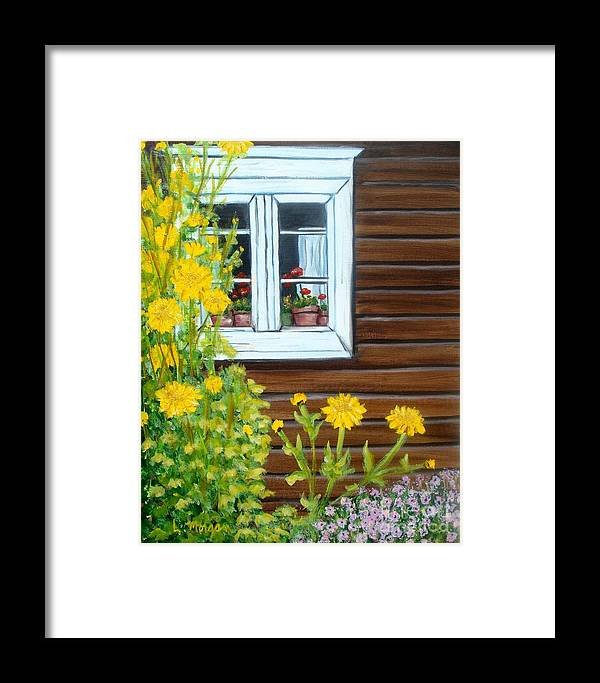 Window Framed Print featuring the painting Happy Homestead by Laurie Morgan