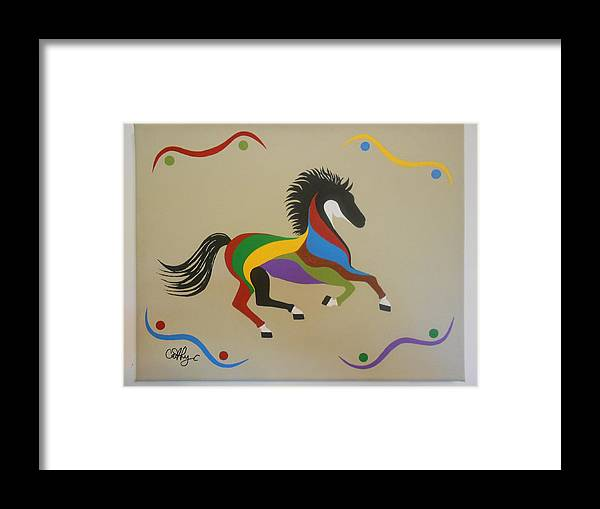Horse Framed Print featuring the painting Happy Horse by Catherine Velardo