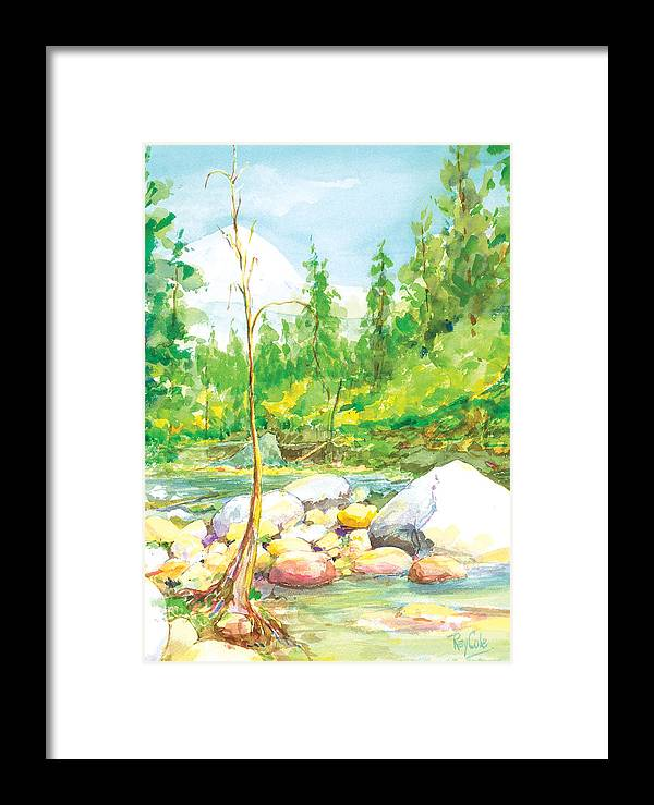 Creek Framed Print featuring the painting Happy Isles by Ray Cole