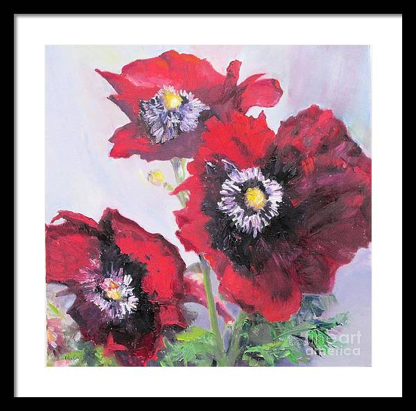 Red Poppies Framed Print featuring the painting Happy Poppies by Marge Casey