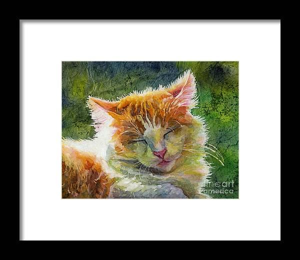 Cat Framed Print featuring the painting Happy Sunbathing 2 by Hailey E Herrera