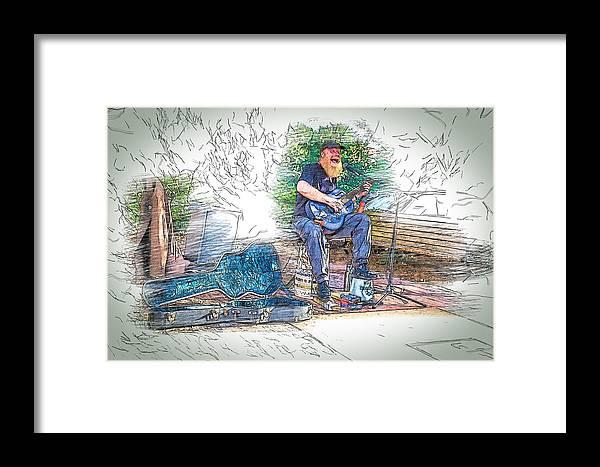 Buskers Framed Print featuring the digital art Happy The Busker by John Haldane