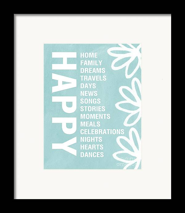 Typography Framed Print featuring the painting Happy Things Blue by Linda Woods