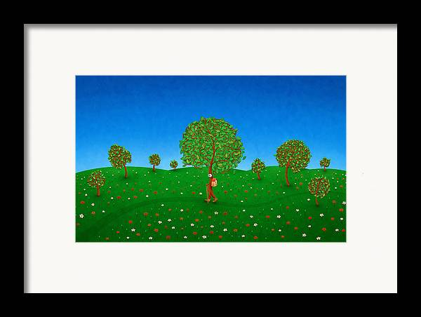 Abstract Framed Print featuring the drawing Happy Walking Tree by Gianfranco Weiss