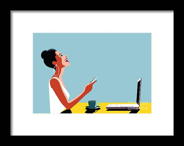 Smartphone Framed Print featuring the digital art Happy Young Beautiful Woman Using by Ralwel