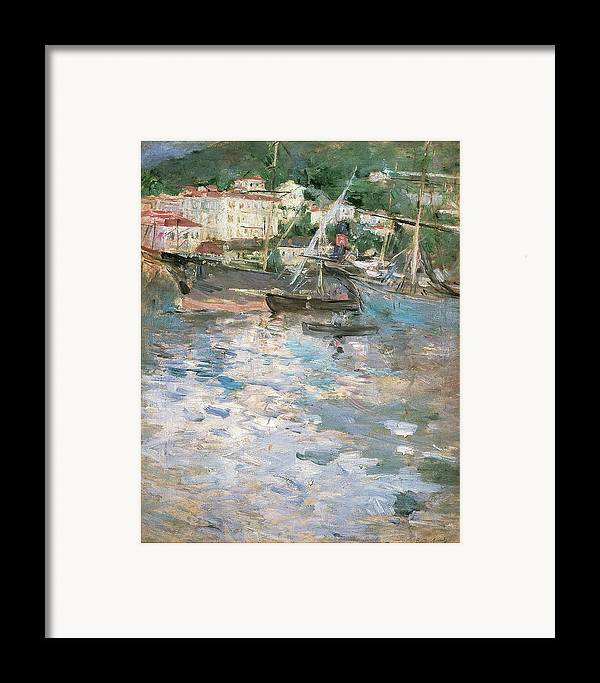 Berthe Morisot Framed Print featuring the painting Harbor At Nice by Berthe Morisot