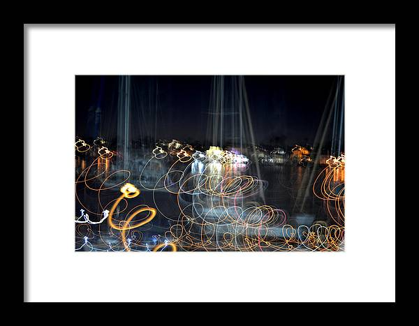 Light Painting Photography Framed Print featuring the photograph Harbor Ghosts by Melissa Pleasant