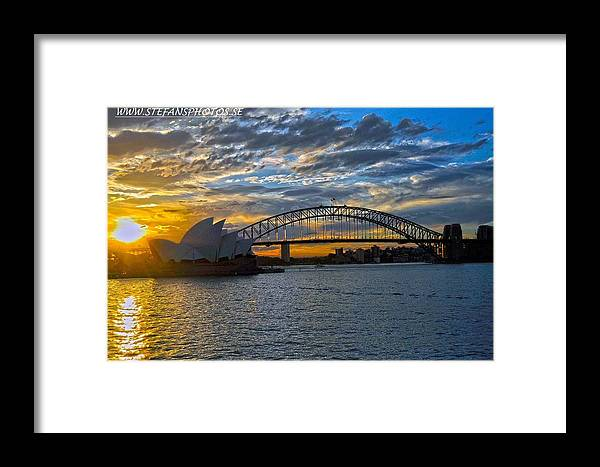 Nice #beatiful #view #sydney #australia #operahouse #bridge #colours #sunset #clouds Framed Print featuring the photograph Harbour Bridge And Operahouse by Stefan Pettersson
