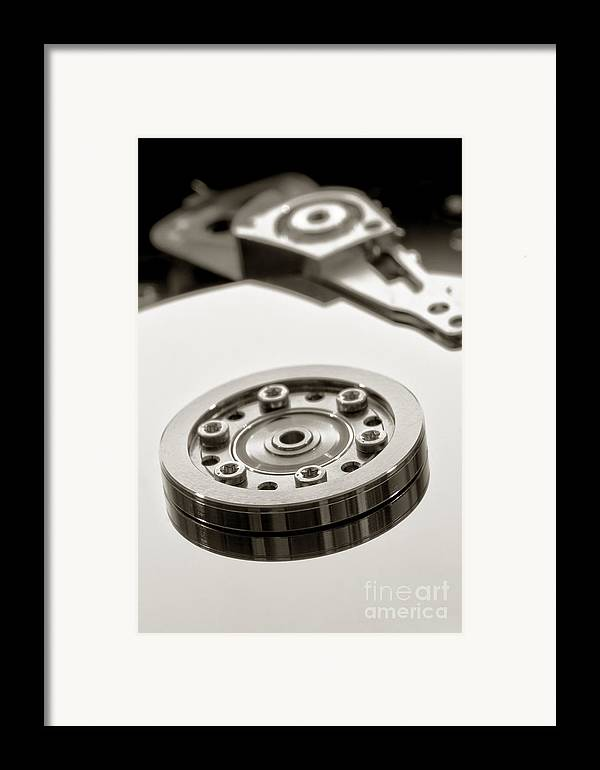 Computer Framed Print featuring the photograph Hard Drive by Olivier Le Queinec