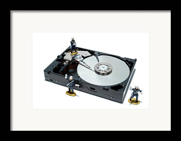 Computer Framed Print featuring the photograph Hard Drive Security by Olivier Le Queinec