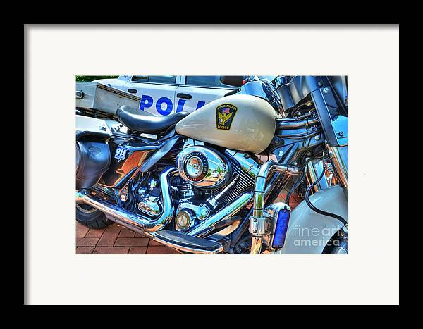 Motorcycles Framed Print featuring the photograph Harleys In Cincinnati 2 by Mel Steinhauer