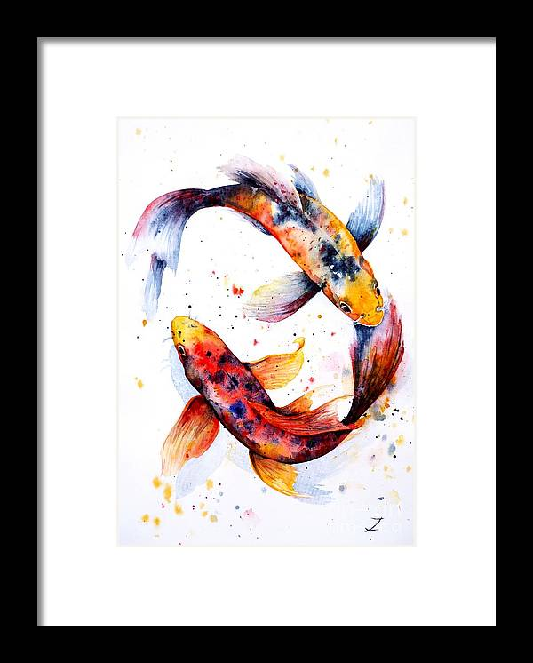 Koi Framed Print featuring the painting Harmony by Zaira Dzhaubaeva