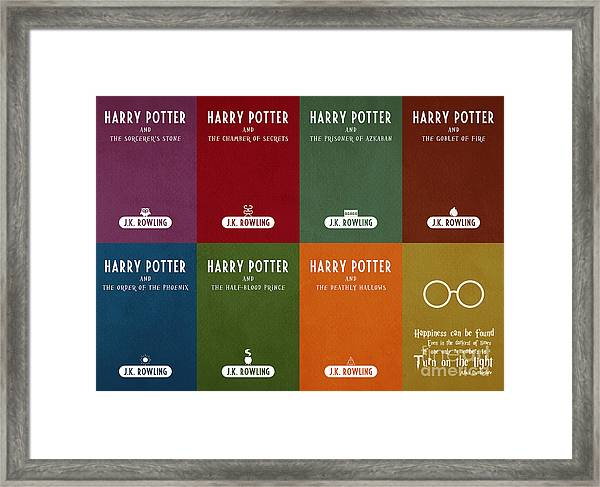 image regarding Harry Potter Book Covers Printable identified as Harry Potter Collection Ebook Deal with Video clip Poster Artwork 1 Framed Print