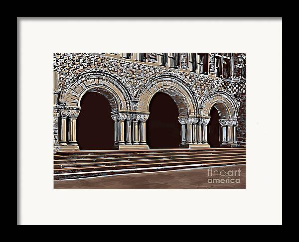 Studying Framed Print featuring the painting Harvard Entrance To Law School  C1900 by Andrzej Szczerski