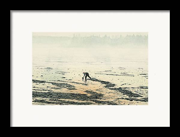Maine Framed Print featuring the painting Harvesting The Flats by Brent Ander