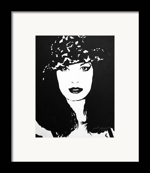Portrait Framed Print featuring the painting Hat by Scott Alcorn