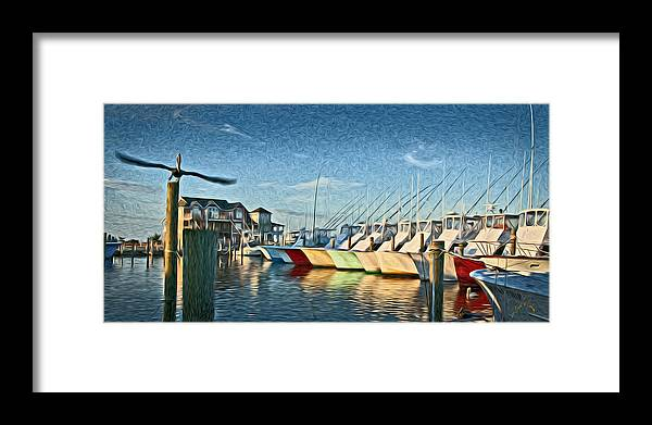 Hatteras Framed Print featuring the photograph Hatteras Harbor Marina by Williams-Cairns Photography LLC