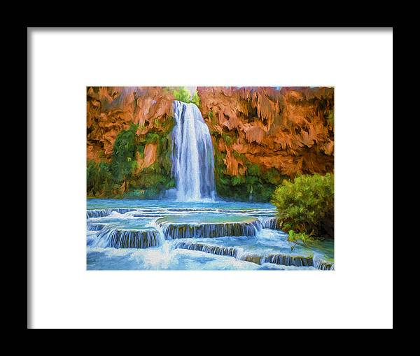Fine Art Framed Print featuring the painting Havasu Falls by David Wagner