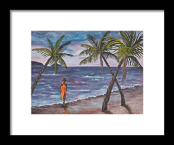 Hawaii Framed Print featuring the painting Hawaiian Maiden by Darice Machel McGuire