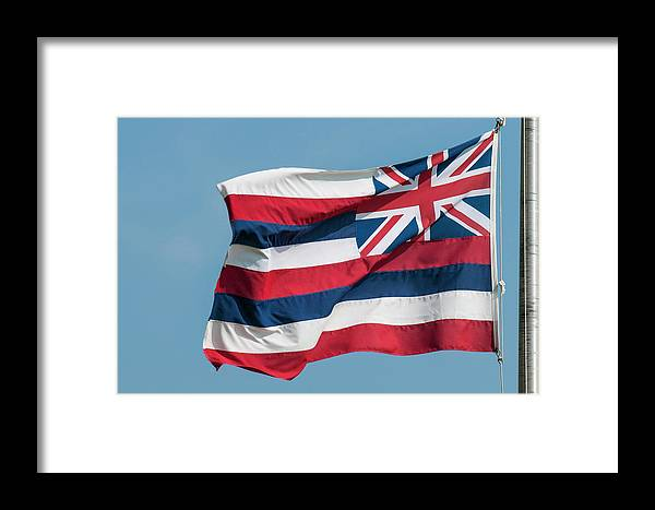Danita Delimont Framed Print featuring the photograph Hawaiian State Flag, Oahu, Hawaii by Michael Defreitas