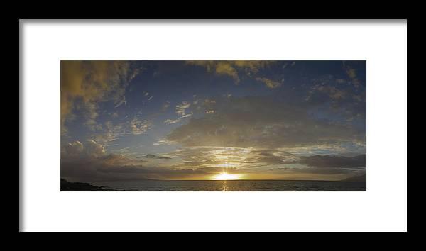 Hawaii Framed Print featuring the photograph Hawaiian Sunset Panorama by Philip Rispin
