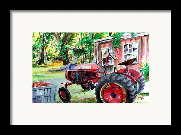 Hawk Hill Framed Print featuring the painting Hawk Hill Apple Tractor by Scott Nelson