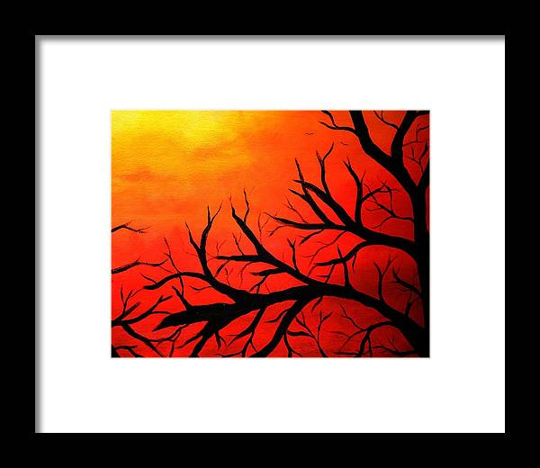 Sunset Framed Print featuring the painting Hawk's View Right Side by Shari SharStar Afflick