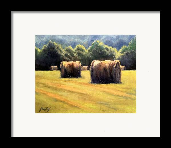 Hay Bales Framed Print featuring the painting Hay Bales by Janet King