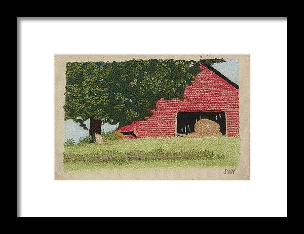 Fiber Framed Print featuring the mixed media Hay Barn by Jenny Williams