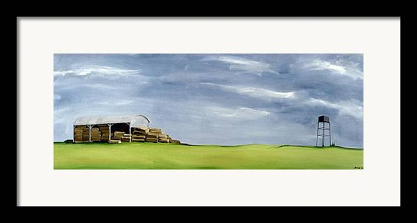 Agriculture & Rural Scenes Framed Print featuring the painting Haybarn Dreaming by Ana Bianchi