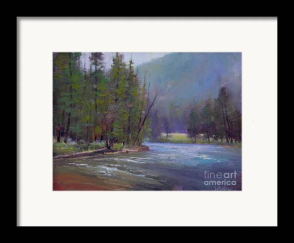 Yellowstone Framed Print featuring the painting Hazy Day On The Gallatin by Lori McNee