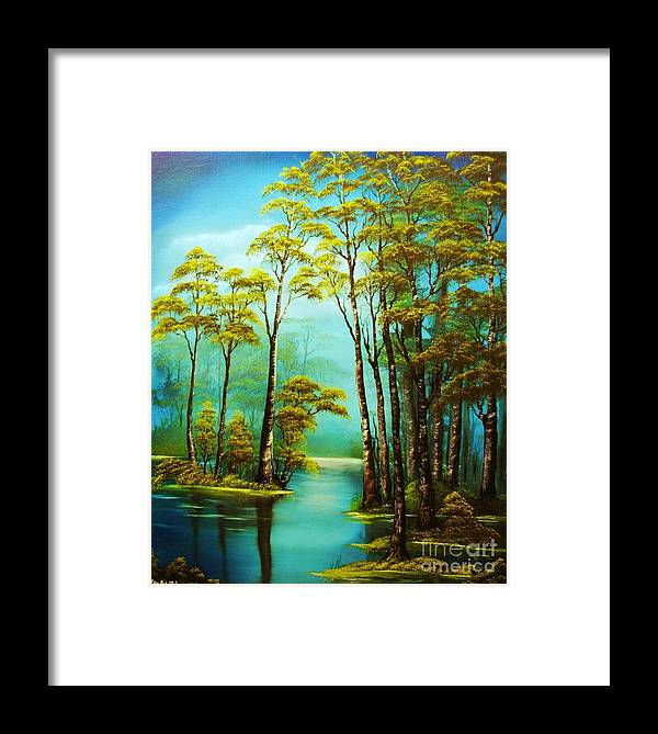 Hazy Framed Print featuring the painting Hazy Reflections-original Sold- Buy Giclee Print Nr 34 Of Limited Edition Of 40 Prints by Eddie Michael Beck